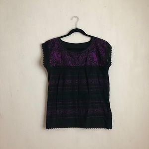 Vintage Mexican embroidery floral blouse purple M